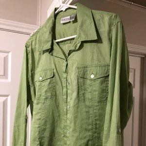Chico's Green Button Down Size 2 (Large)